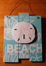 SAND DOLLAR SHELL STARFISH CORAL BEACH SIGN Aqua Blue Coastal Wood Home Decor