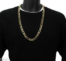 14k Gold Plated 12mm Italian Stainless Steel Figaro Link Chain Necklace 30 Inch