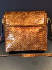 Stuart Weitzman Gold / Bronze Shoulder BAG Cross Body Snake Patent Leather