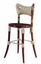 "44"" H Bar stool light gray soft Italian leather exotic hard wood spectacular"