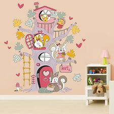 Huge Nursery Children Squirrel Tree House Wall Sticker Girls Boys Room Deco