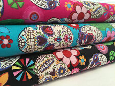Candy Skull 100% Cotton Poplin Fabric (Mexican Day of the Dead)
