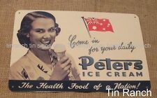 vintage PETERS ICE CREAM TIN SIGN new 1940s advertising old MILK BAR cafe diner