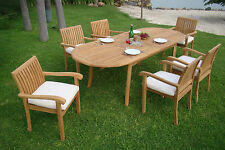 """7 PC DINING TEAK SET GARDEN OUTDOOR PATIO FURNITURE NAPA STACKING 94"""" OVAL TABLE"""