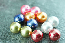 *NEW!12 PCS 16mm Mixed Color Polished Faux Imitation Acrylic Round Pearl Beads*