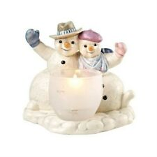 GOEBEL Christmas  Winter Greetings Snowmen with Tealight Candle Holder NEW 18640