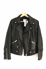 Zara Black Genuine Leather Biker Jacket Size EU Large (12) Brand New With Tags