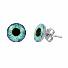 Men's Stainless Steel & Resin Blue Eyeball 10mm Stud Earrings