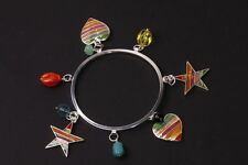 FUN SILVER TONE METAL BANGLE COLOURFUL HEART STAR CHARMS BEADS UNIQUE (ZX22)