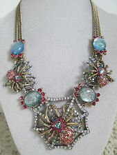 NWT Auth Betsey Johnson Spider Lux Pink Spider Web Medallion Statement Necklace