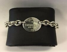 """AUTHENTIC TIFFANY & CO. STERLING SILVER """"PLEASE RETURN TO"""" OVAL TAG BRACELET"""