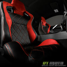 Red Suede/Stitch+Black PU Leather SCS Style Reclinable Racing Seat PassengerSide