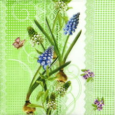 4x Single Table Party Paper Napkins for Decoupage Decopatch Vintage Muscari