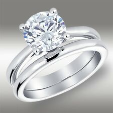 2.08 Ct Brilliant Round cut Engagement Ring & Solitaire Band in Solid 14k Gold