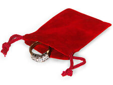 100 RED 2x2 Jewelry Pouches Velour Velvet Gift Bags