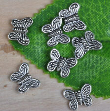 100PCS Tibetan Silver butterfly Spacer Charm Beads BEAD 10mm A0009