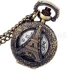 Vintage Bronze Hollow Eiffel Tower Quartz Pocket Watch Pendant Necklace Chain