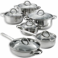 New 12 Pieces Cooking Pots and Pans Kitchen Stainless Steel Cookware Set Lids