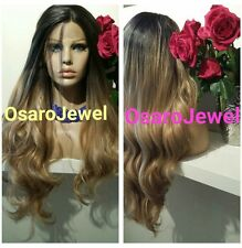 Full long Brown golden ombre beauty.  European human hair blend. Lace front wig