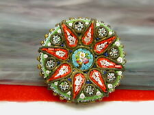 Vintage Italy Concave Shape  Mini Micro Mosaic Brooch Pin C Clasp
