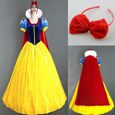 Halloween Snow White Princess Cosplay Costume Adult Fairytale Party Ball Gown S