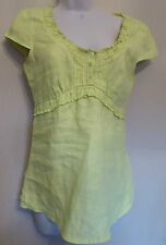 Per Una UK10 EU38 US6 new lime green linen cap-sleeved tie-back top