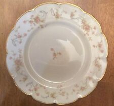 "Haviland Limoge France Floral Pink Rose Scalloped Gold Edge 10 1/4"" Dinner Plate"