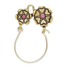 Flowers Antiqued Gold Charm Holder Pendant for Traditional or Clip-On Charms