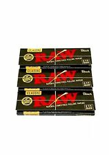 3 Packs Raw Classic Black 1 1/4 Rolling Papers 50 Leaves Per Pack Double Pressed