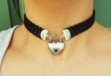 Leather SolidSterling Silver Ends  Locking BDSM Slave Bondage Day Collar
