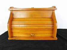RARE Vintage Bread Box Solid Wood Tambour Door and Niche Closeable Top