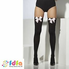BLACK OPAQUE SHEER HOLD UPS STOCKINGS + PINK BOWS ladies womens hosiery