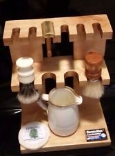 Poplar Wood Stand for 6 Safety Razor 4 Shaving Brush Made in USA & FREE SOAP!