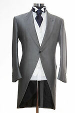 """MENS SILVER GREY ASCOT TAILS TAILCOAT EX HIRE X-LARGE 44"""" CHEST WEDDING JACKET."""