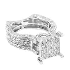 Sterling Silver Engagement Ring Square Face Diamond Wedding Bridal Womens 12mm