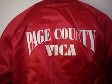 "Vtg 80s Shiny Red ""Macgyver Freak"" Vica Page County Virginia Baseball Parka Xl"