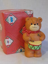 Vintage Enesco Lucy & Me Christmas Teddy Bear Drummer Bank ~ with Box