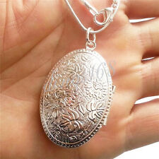 925 Sterling Silver Large Carved Locket Pendant + Snake Chain Necklace Set D540