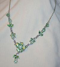 Lovely Sculpted Light Green Finish Flowers Butterflies Silvertn Pendant Necklace