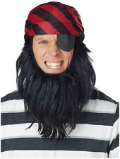 Red & Black Pirate Scarf & Beard & Eye Patch Adult Halloween Costume Accessories