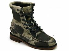 WOMENS SEBAGO KOWLOON GREEN LEATHER CAMOUFLAGE LACE UP FLAT ANKLE BOOTS SIZE 5