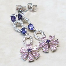 WONDERFUL PINK SAPPHIRE FLOWER 925 STERLING SILVER STUD EARRINGS