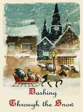 Dashing Through the Snow Song Music Christmas Winter Holiday Metal Sign
