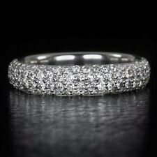 0.90ct G VS PALLADIUM ROUND 4 ROW DIAMOND WEDDING BAND COCKTAIL RING PAVE SET CT