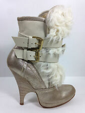 Just Cavalli Belted Leather  Fur-Trim Booties Size Eur.37