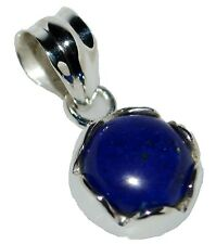 Sterling Silver Lapis Lazuli Pendant Natural Gemstone 925 Jewelry Blue Solitaire