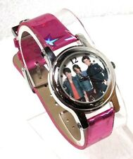 DISNEY JONAS BROTHERS WHITE DIAL SILVER-TONE PINK LEATHER STRAP WATCH JNB037