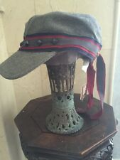 Juicy Couture Wool Blend Grey Blue Red Newsboy Cap/Hat Authentic NWT One SZ