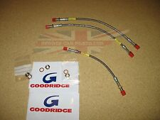 Set of New Stainless Front & Rear Brake Line Hoses MGB 1963-80 Goodridge Made UK