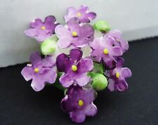 Vintage Bone China Brooch - Violet Flowers made in England in the 1950s